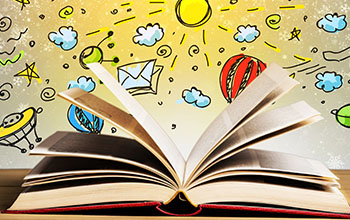 A red book opened.  Colorful background with pictures of cartoon sun, clouds, stars, space ship and planets